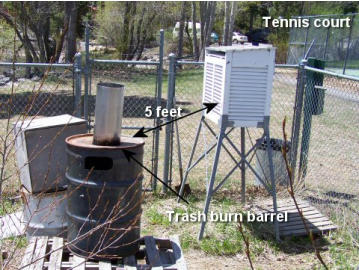 Temperature Sensor Station near burn barrel